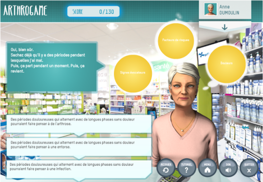 Serious Games helping pharmacists to better advise patients with osteoarthritis. From seriousgamesmarket blog, 2013