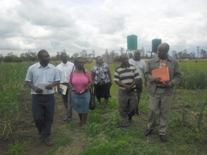 Members of the ZIMNAMH Board  touring  the rehabilitation centre farm