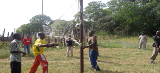 Patients at ZIMNAMH Tirivanhu Half Way Home and Rehabilitation Centre playing volleyball.  The centre does not have proper sporting and recreational facilities